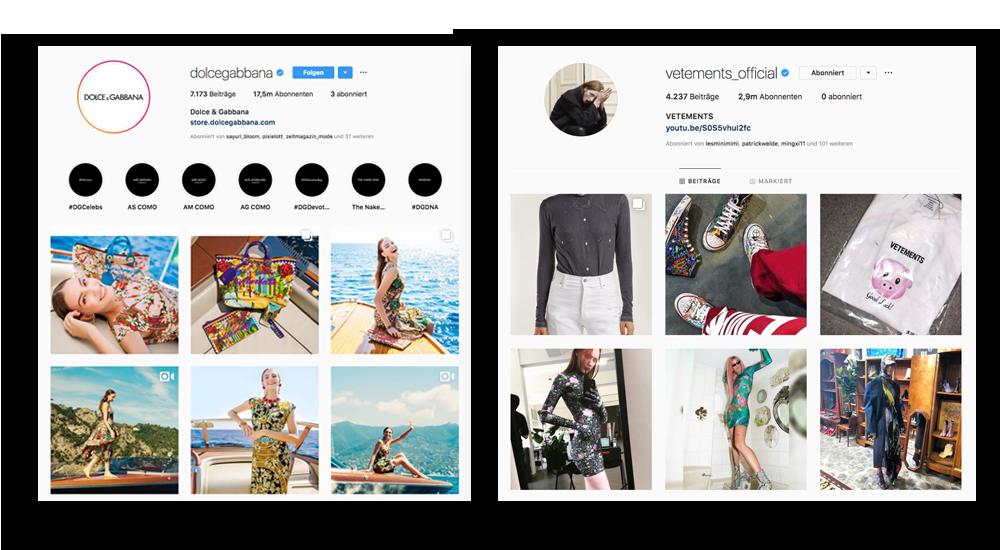 Vergleiche von Instagram-Accounts großer Modelabels