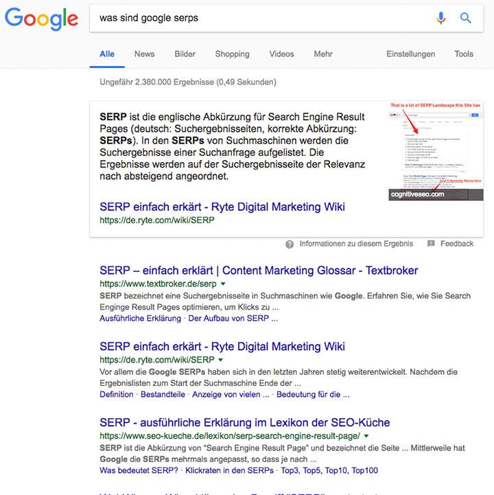 Google Suchergebnisse Mit Snippet